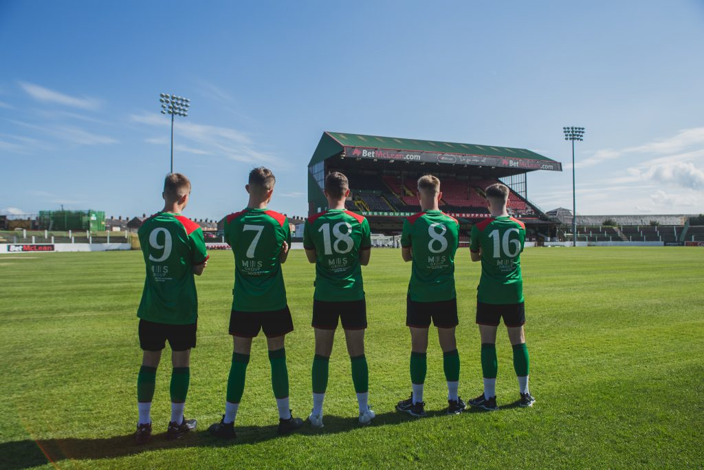 Glentoran Academy Players at the Oval Grounds